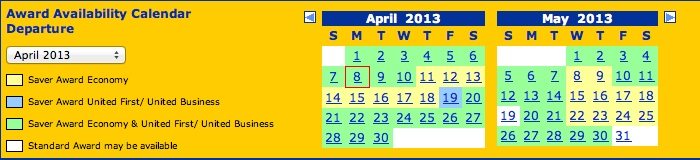 Award calendar showing the availability of each award type