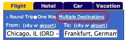 Multiple Destinations search on home page