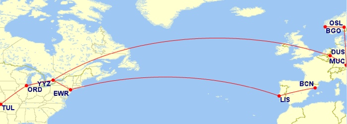 On the way back: Barcelona - Lisbon | Lisbon - Newark - Toronto | Toronto - Chicago - Tulsa