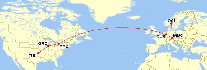 Tulsa - Chicago - Toronto - Dusseldorf - Munich - Oslo. Whew!