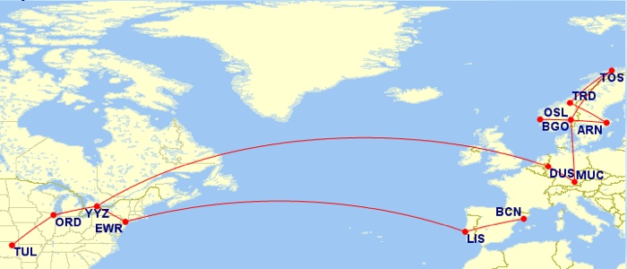 Tulsa - Chicago - Dusseldorf - Munich - Oslo - Tromso - Trondheim - Stockholm - Bergen | Barcelona - Lisbon - Newark - Toronto | Toronto - Chicago - Tulsa. So far so good!