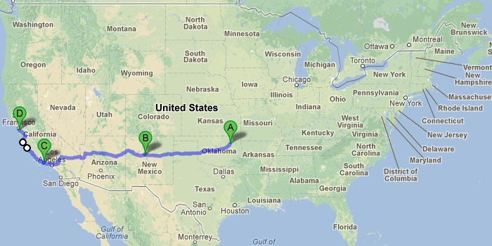 Our plans at a glance: Tulsa - Albuqurque, NM - Ventura, CA - San Francisco