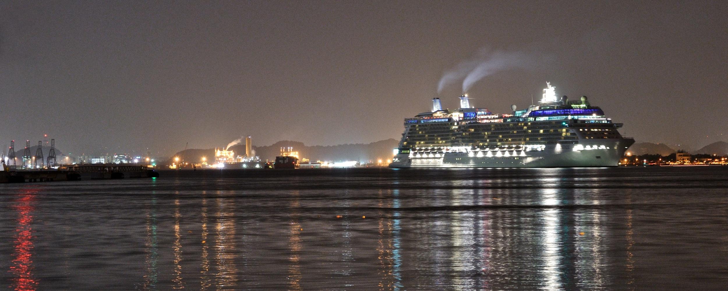 Cruise ship leaving San Juan at night