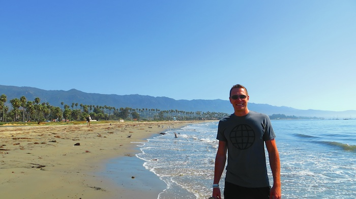 Getting my feet wet in the Pacific in Santa Barbara