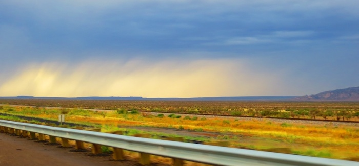 Colorful rain in the distance