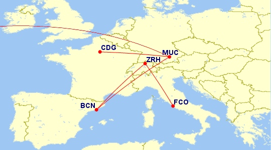 To Paris through Munich, to Barcelona through Zurich, and back again through Munich