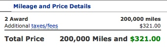 Two Business Class tickets using United miles