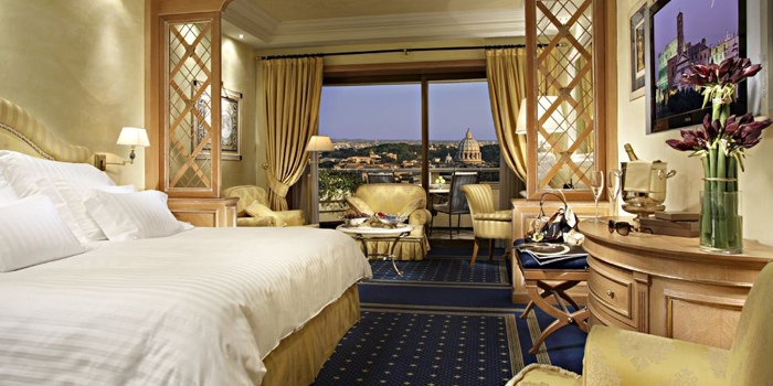 "Rome Cavalieri - ""Rome's most prestigious address"" and one of the top Waldorf Astoria properties with its own art collection and voted #1 Hotel Spa in Europe by readers of Travel + Leisure Magazine. The view of the entire Rome and the Vatican from here is mind blowing! (photo from Waldorf Astoria)"