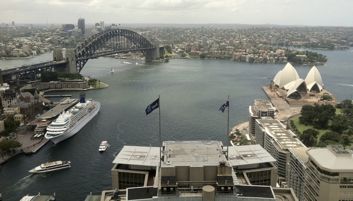 Circular Quay and the Harbour Bridge from Regus office at the AMP Tower in Sydney