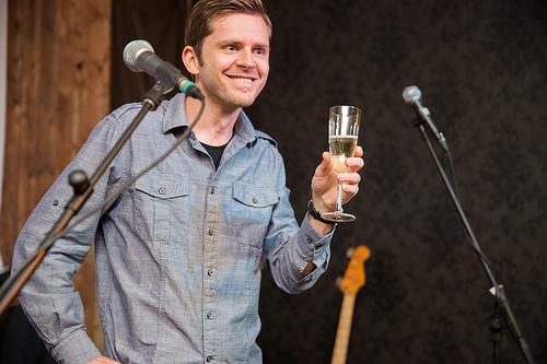 Chris toasting the crowd