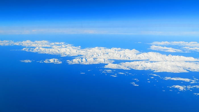 Flying over Lofoten Islands on the way to Bodo and then Trondheim