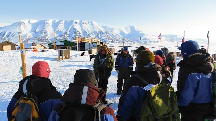 ucting safety briefing before going dogsledding