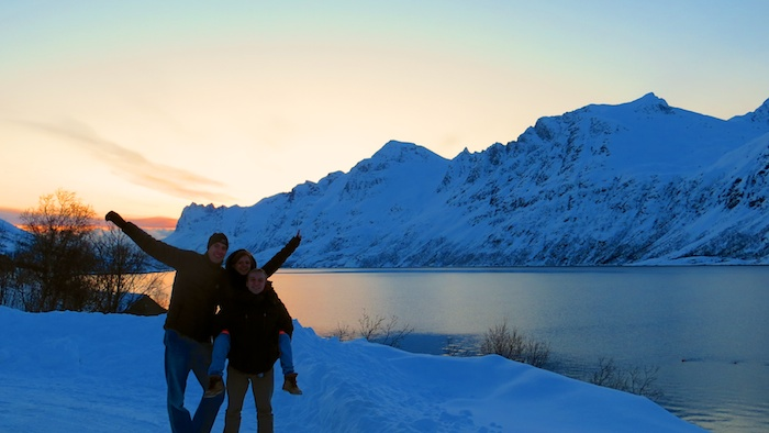 Sunset over the Kaldfjorden with my couchsurfing hosts Dasha and Alex