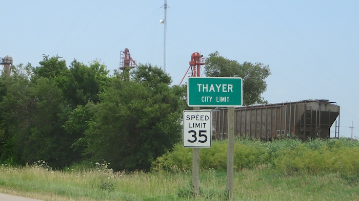 Thayer, KS aka the speed trap city - going from 65 to 35 for about a mile