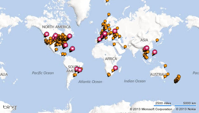 TripAdvisor Cities Visited map (screenshot)