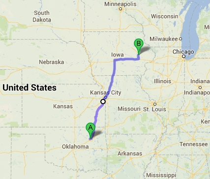 Driving from Tulsa to Cedar Rapids - 584 miles, 11 hours of driving (14 hour day total)