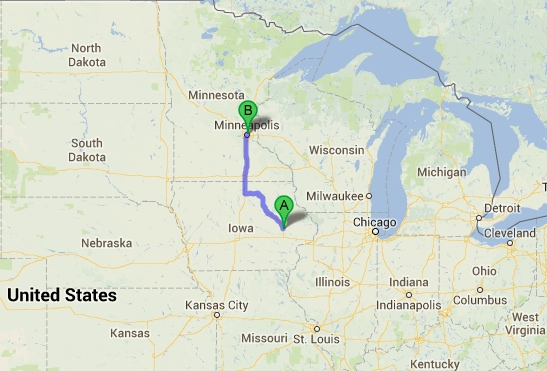 A fairly quick 4.5 hours drive through Iowa and Minnesota