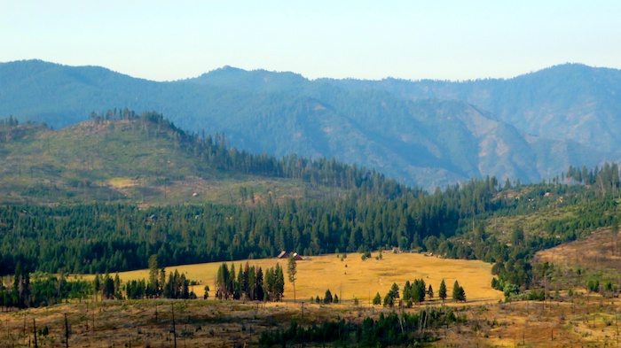 Yosemite Big Meadow with restored German barns circa 1880s
