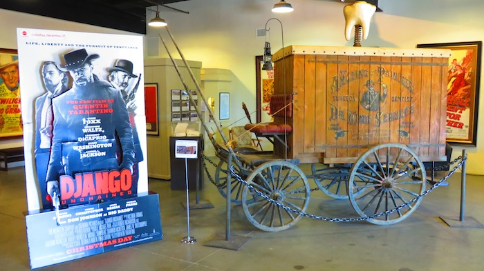 Django display at the front of the museum at Lone Pine Film Museum