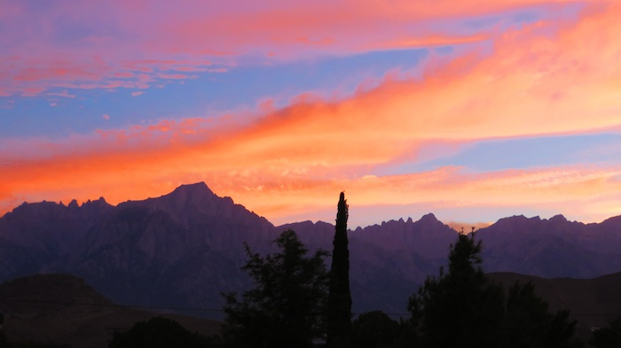 Sunset in the Sierr's during my dinner walk in Lone Pine