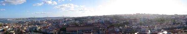 Case in point - a bit too much light in this panoramic shot of Lisbon