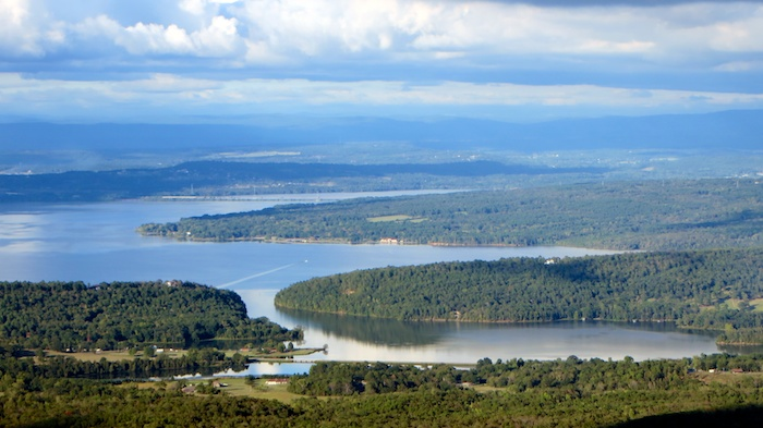 Dardanelle lake and Arkansas river in western Arkansas from Mt. Nebo state park