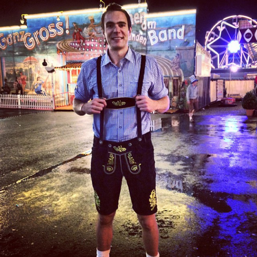 Euro beer run - wearing my new lederhosen at traditional Oktoberfest Wiesn