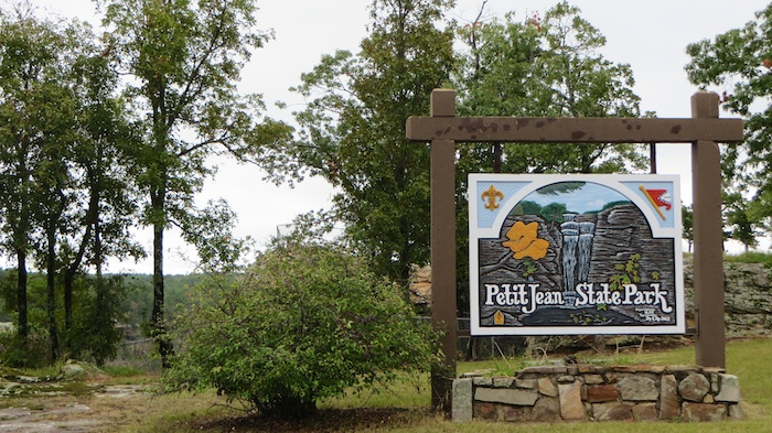 Petit Jean State Park entrance in western arkansas river valley