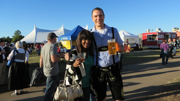 Roaming around with my masskrug, showing off the lederhosen at Tulsa Oktoberfest