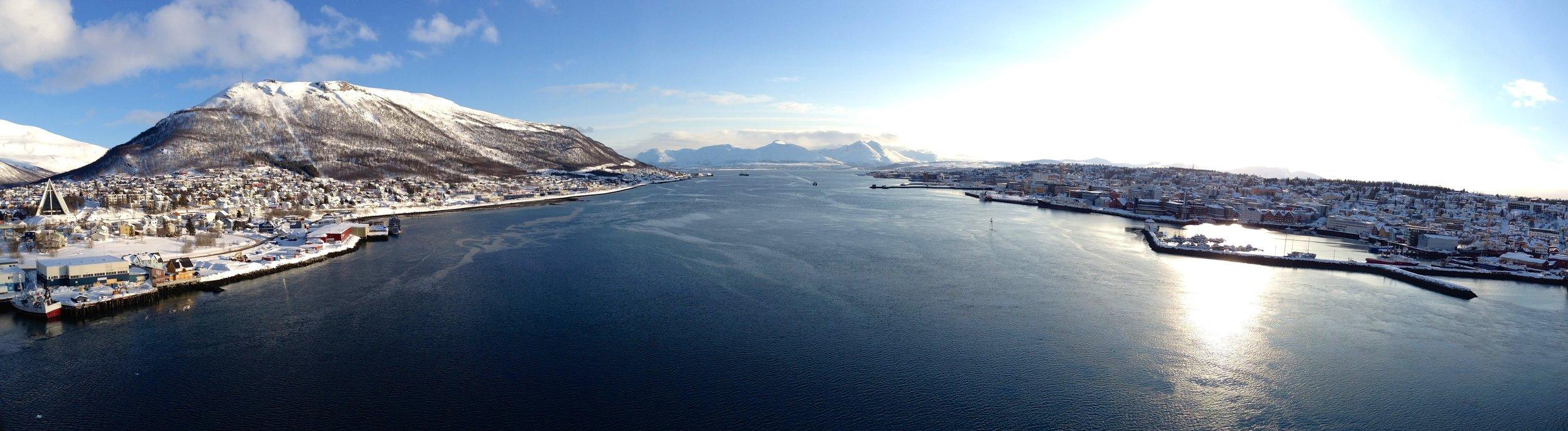 Tromso, Norway Scandinavia - Tromsøysundet strait panorama