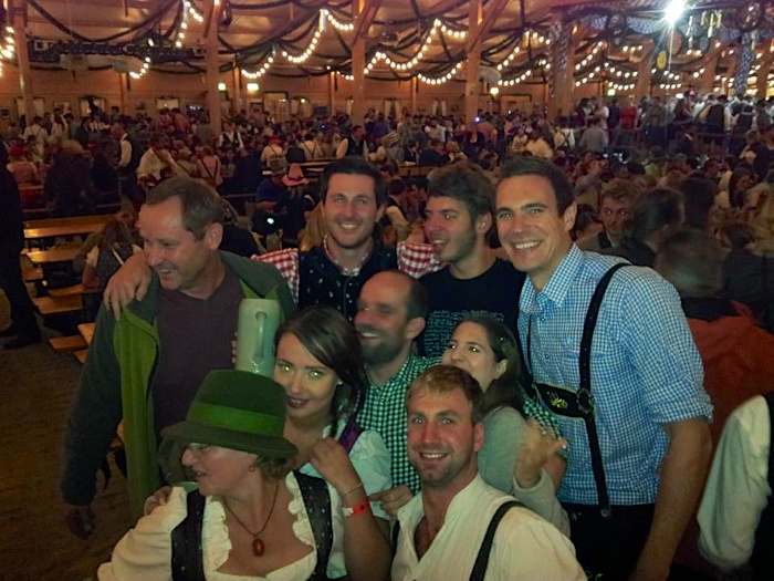 Wearing my lederhosen at the Traditional Oktoberfest Wiesn in Munich