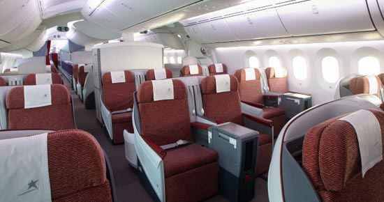 LAN business class cabin sure beats economy on four-hour flights