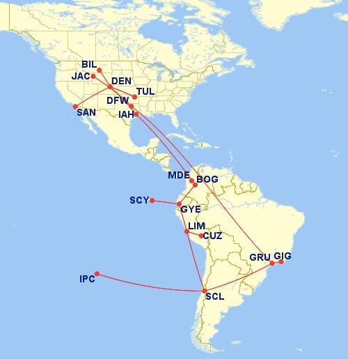 San Diego, Medellin, Galapagos, Guayaquil, Cuzco, Machu Picchu, Lima, Easter Island, Santiago, Rio and Yellowstone