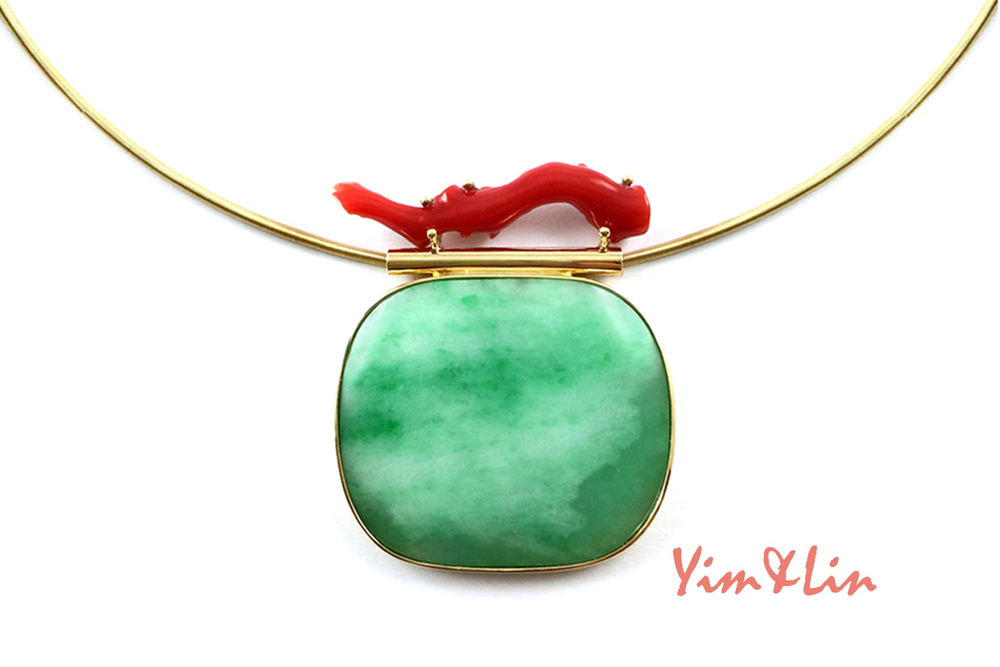 Qing dynasty Jadeite Rank Gem from Official's hat, topped by branch Coral, slide pendant wrapped in 18k.