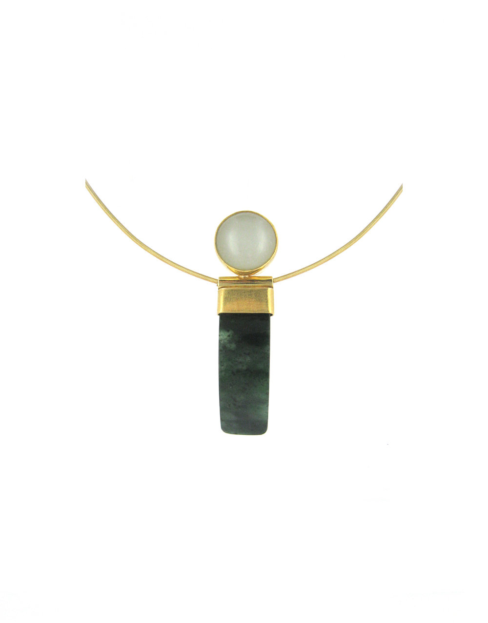 Highly prized, this pendant of Mutton Fat Nephrite antique button is joined with semi-translucent curved rich Spinach Jadeite in warm brushed 18-karat gold.
