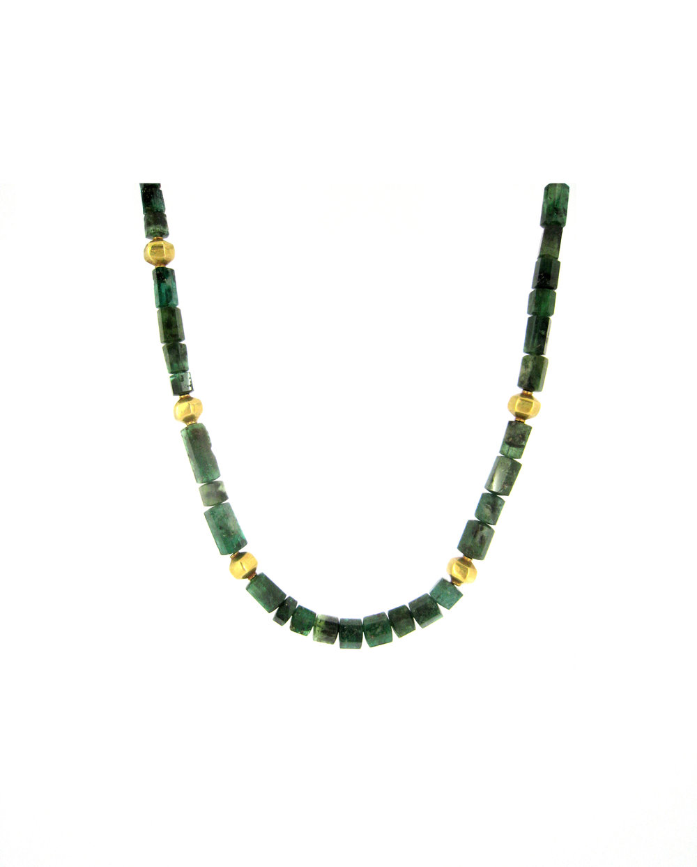 Faceted emerald with gold spacers necklace