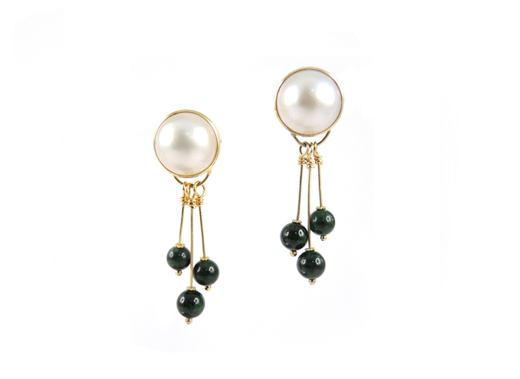 A Lin signature design. 18K Akoya mabe pearl with three Chloromelanite jadeite bead drops earrings