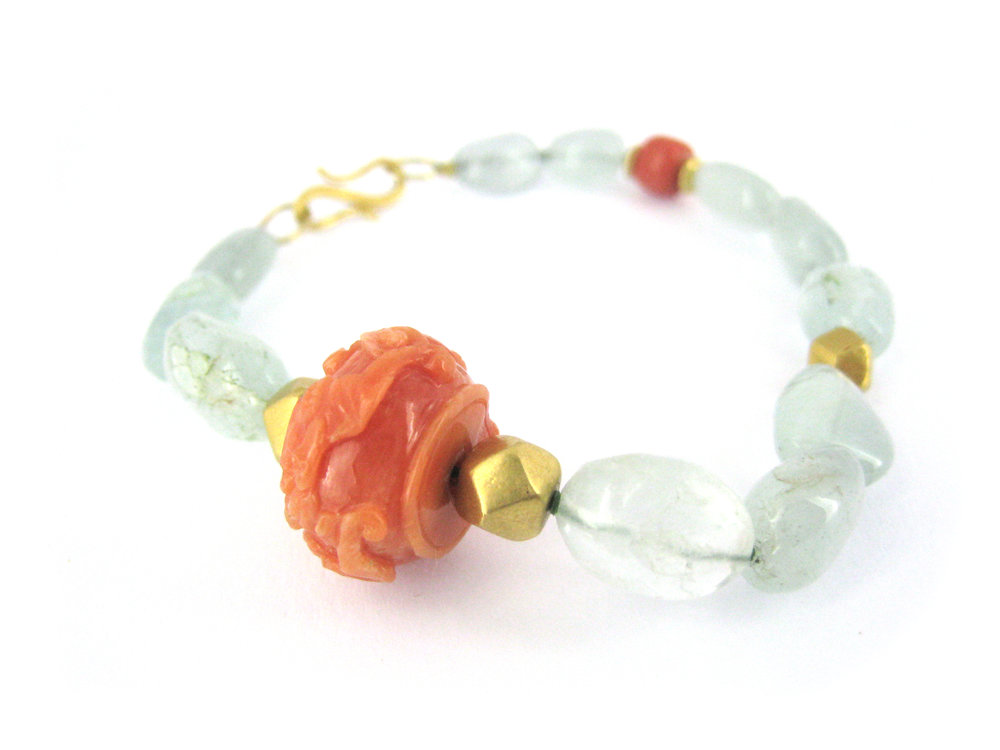 carved coral with aquamarine nuggets and 18k gold beads soft bracelet