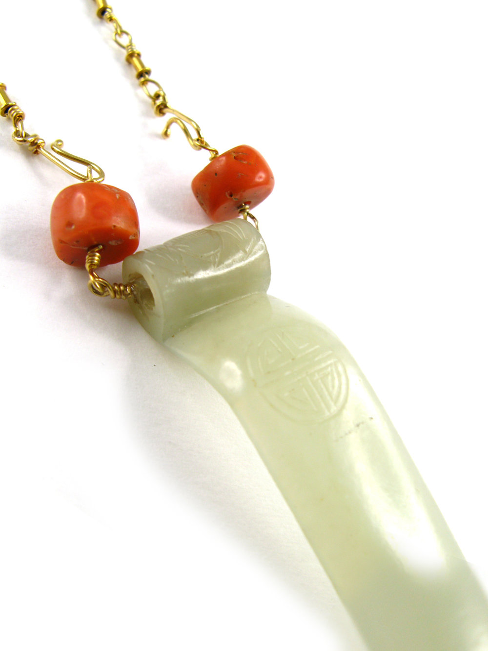qing dynasty Antique nephrite hair pin becomes a pendant with vintage coral beads and hand made 18k chain