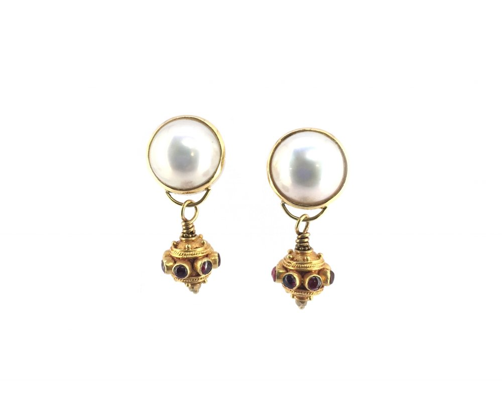 Post earrings of akoya mabe pearl with drops of vintage indian 18k gold bead with inset ruby..