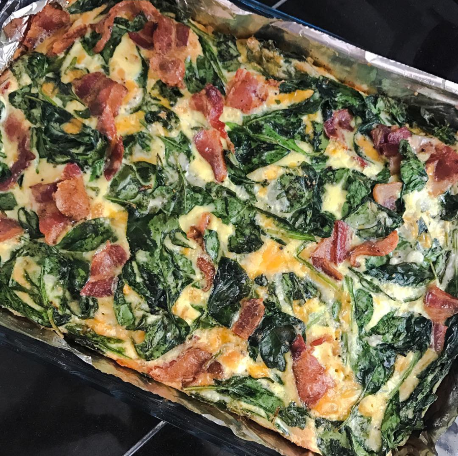 This one was super simple, just spinach, eggs, mexican cheese blend, HWC, pink salt/pepper, and bacon.