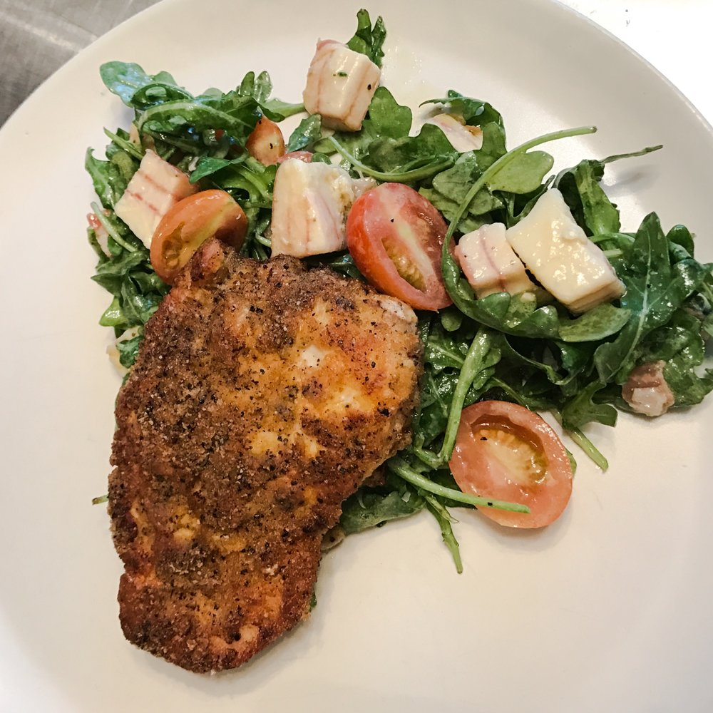 Keto Recipe Pork Rind Crusted Chicken With Arugula Salad Keto