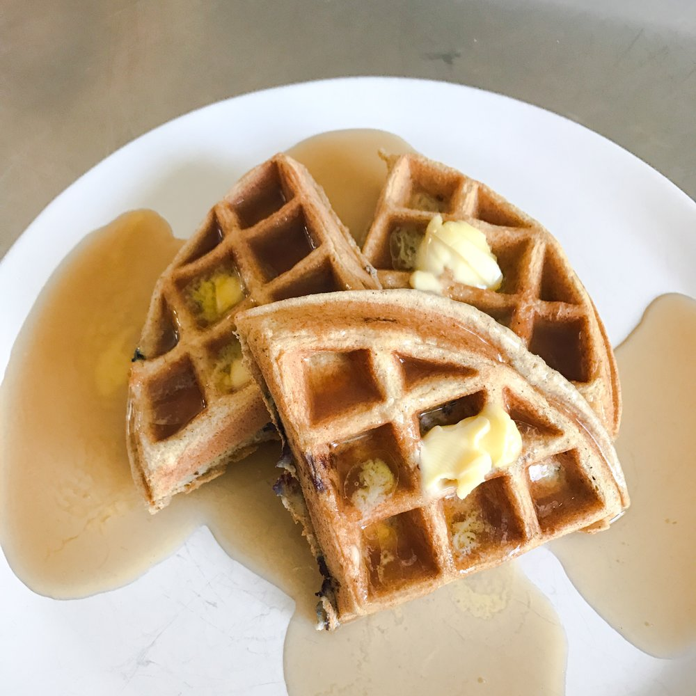 Waffles + grass-fed butter + sugar free syrup = heaven