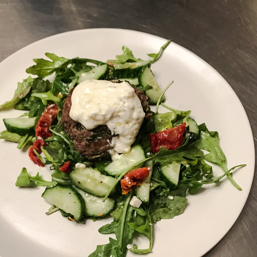 KETO RECIPE: FETA-STUFFED LAMB BURGERS ON A BED OF CUCUMBER SALAD by Jen Fisch via Keto In The City