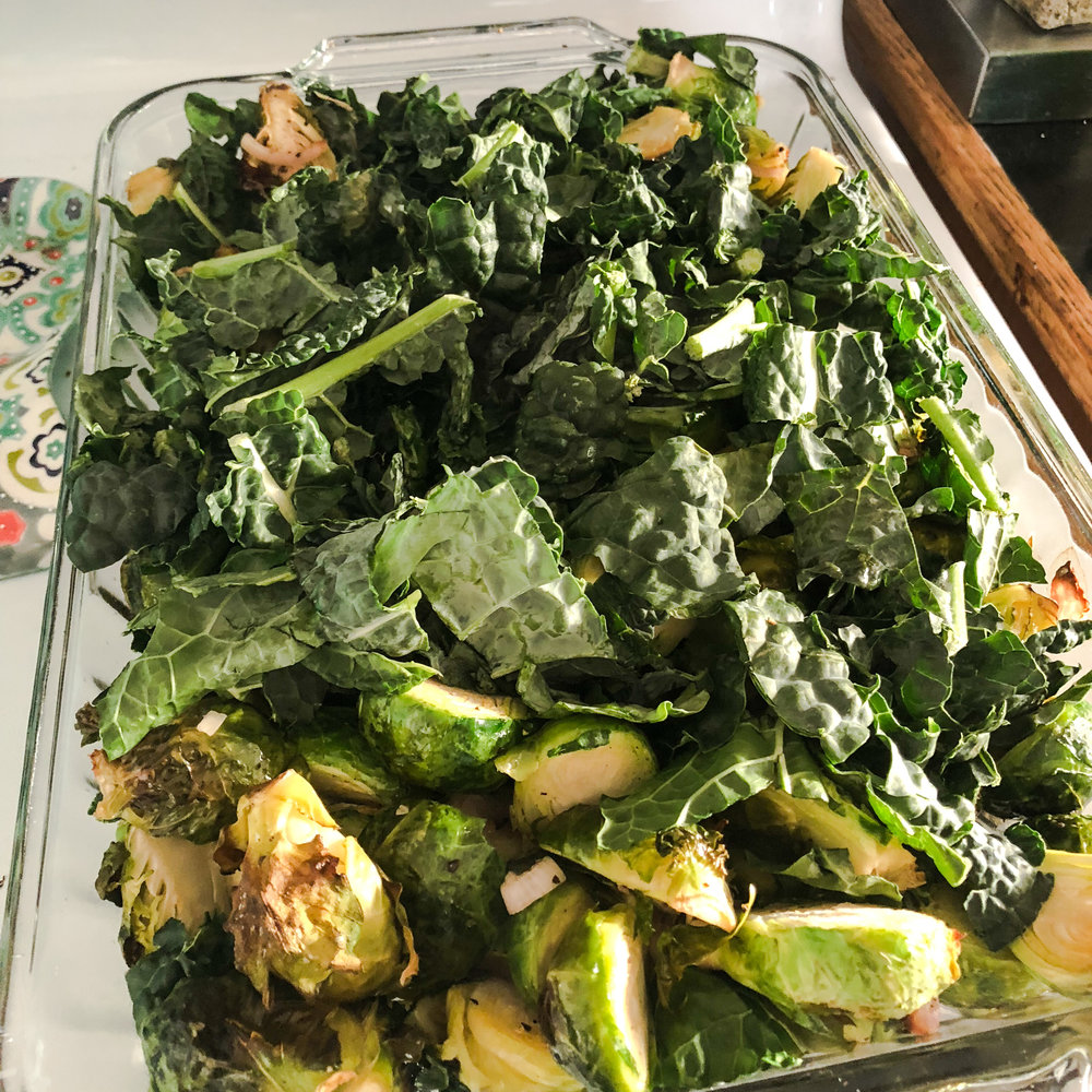 Pull out after 15 minutes (or once Brussels have gotten soft), and add 12 oz of chopped kale.