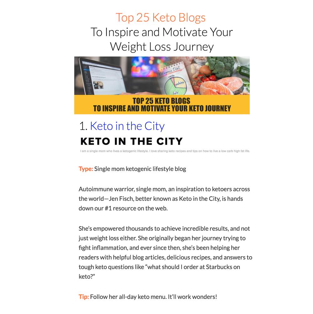 KETO IN THE CITY TOP 25 KETO BLOGS