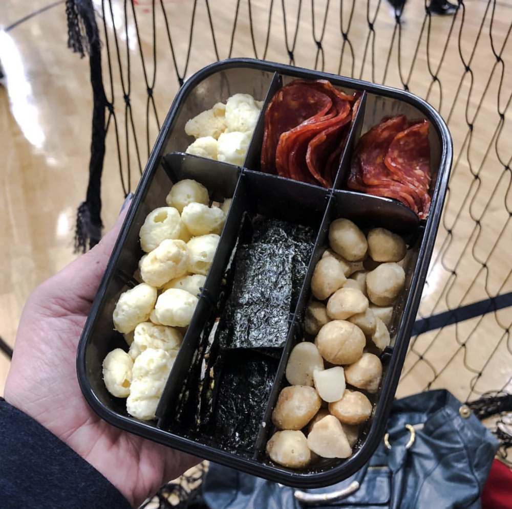 My Keto Snack Box: Moon Cheese, seaweed, pepperoni and macadamia nuts.