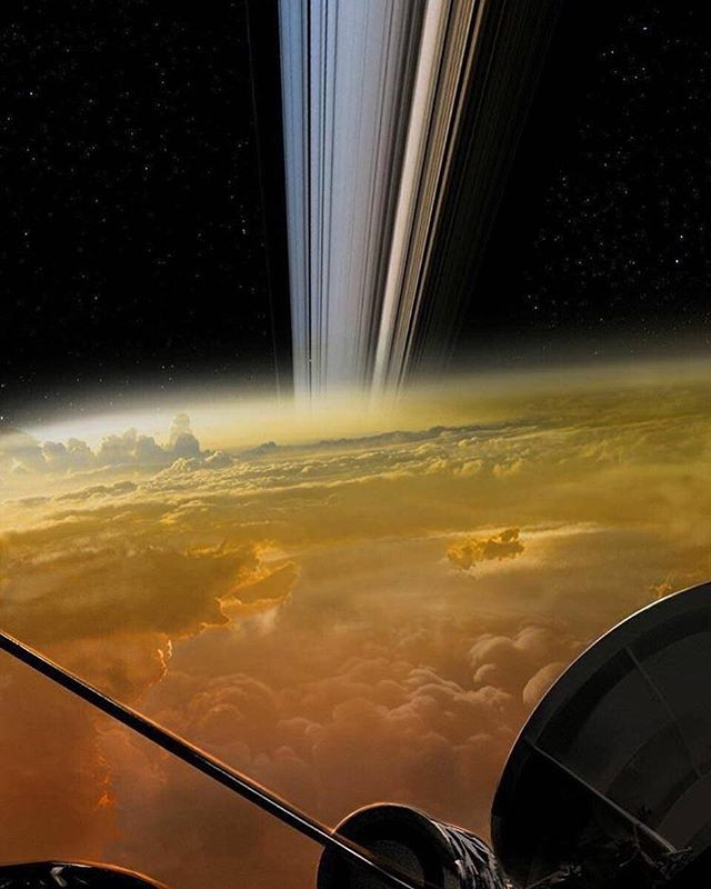 Cassini image of Saturn before entering its atmosphere. Who says science isn't dope?!! #universe #solarsystem #aerospaceengineering #aerospace #planets #austin #urfit #austintx #nofilter #instagood #science #everyday