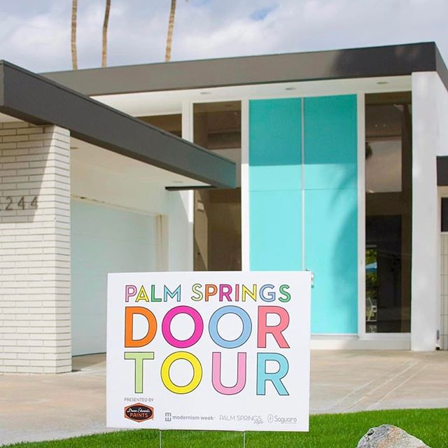 The second @palmspringsstyle @dunnedwards #doortour happens tomorrow with multiple start times between 11am and 12pm from the @thesaguarops. Tickets available at the door. If you don't have a bike, you can also take the tour by foot, car, or golf cart!!
