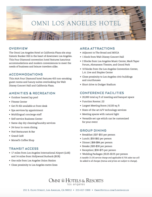 Omni Los Angeles Hotel Fact Sheet
